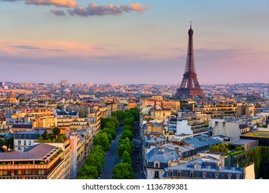 Skyline of Paris with Eiffel Tower in Paris, France. Panoramic sunset view of Paris. Architecture and landmarks of Paris.