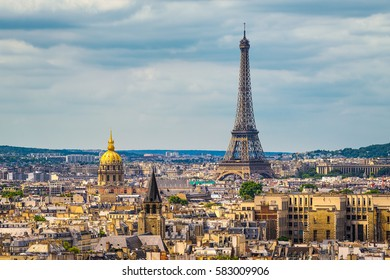 Skyline of Paris with Eiffel tower, France