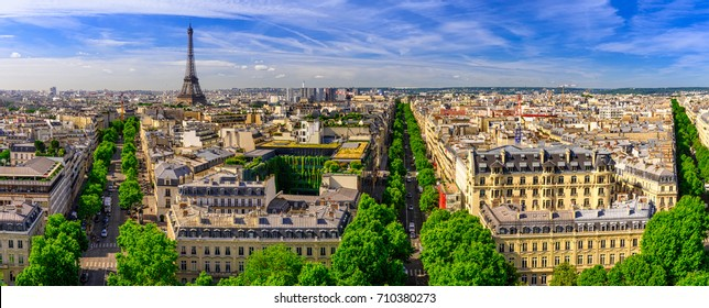 Skyline of Paris with Eiffel Tower in Paris, France.  Eiffel Tower is one of the most iconic landmarks of Paris. Architecture and landmarks of Paris