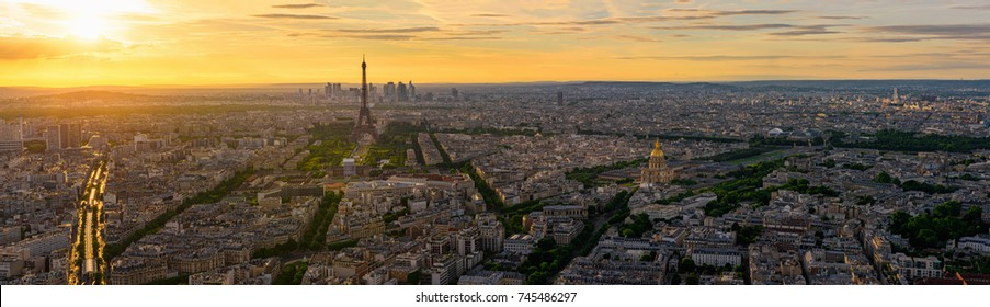 Skyline of Paris with Eiffel Tower in Paris, France. Panoramic sunset view of Paris. Eiffel Tower is one of the most iconic landmarks of Paris.
