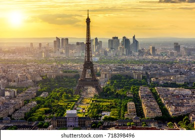 Skyline of Paris with Eiffel Tower at sunset in Paris, France. Architecture and landmarks of Paris. Postcard of Paris
