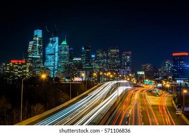 Skyline of Philadelphia Pennsylvania at Night