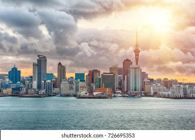 Skyline photo of the biggest city in the New Zealand, Auckland. The photo was taken during the golden sunset across the bay