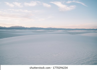 Skyline and picturesque landscape of dim white dunes of White Sands National Park in state of New Mexico United States