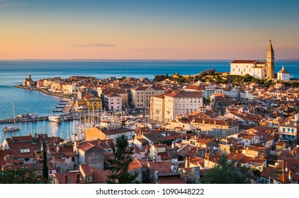 Skyline of Piran during sunset, Slovenia