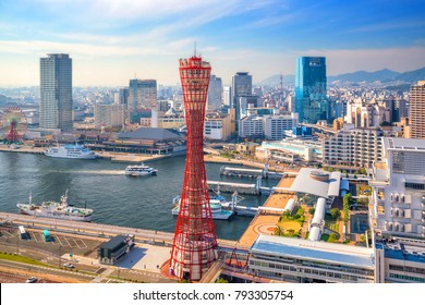 Skyline and Port of Kobe in Japan