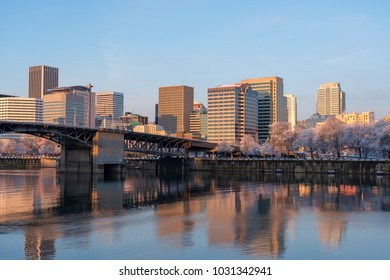 Skyline of Portland Oregon with Will laminate River in foreground