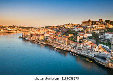 Skyline of Porto, Portugal at sunrise