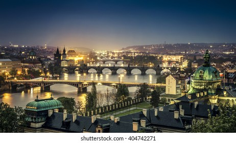 The skyline of Prague at night, Czech Republic