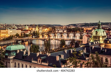 The skyline of Prague at twilight, Czech Republic