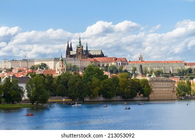 skyline of Prague with Vitus cathedral, Czech Republic