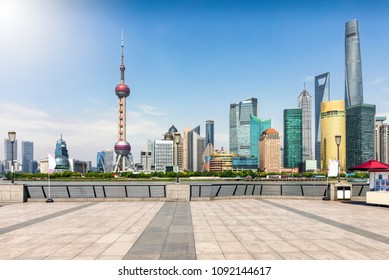 The skyline of Pudong, Shanghai, China, seen from the Bund waterfront on a sunny day