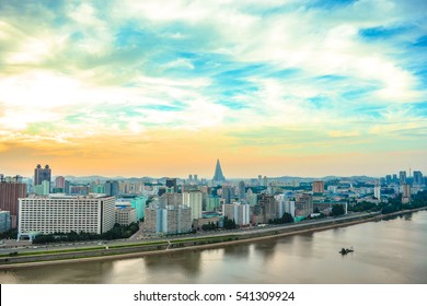 The skyline of Pyongyang city, the capital of North Korea (DPRK), photogaphed from Yanggakdo International Hotel