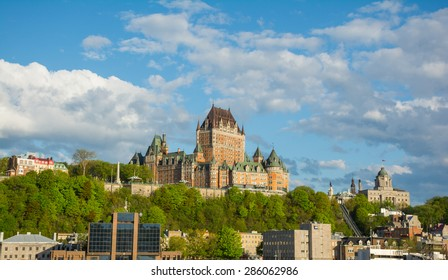 Skyline of Quebec city (a UNESCO World Heritage site) shot from saint Lawrence river