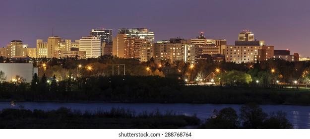 Skyline of Regina at sunset. Regina,Saskatchewan, Canada