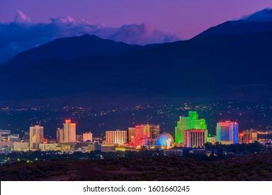 Skyline of Reno Nevada USA at Dusk