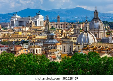 Skyline of Rome, Italy. Rome architecture and landmark, Rome cityscape. Rome postcard