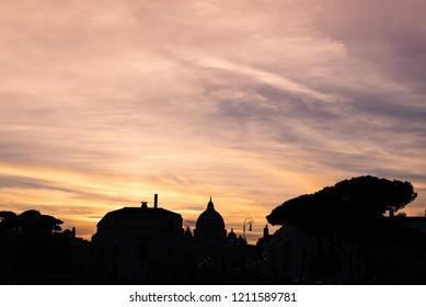 Skyline of Rome on the sunset