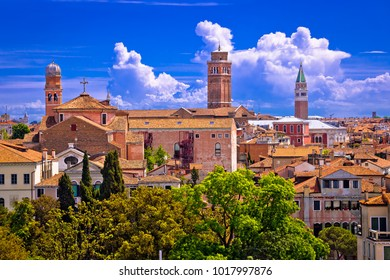 Skyline and rooftops of Venice, famous tourist destination in Veneto region of Italy