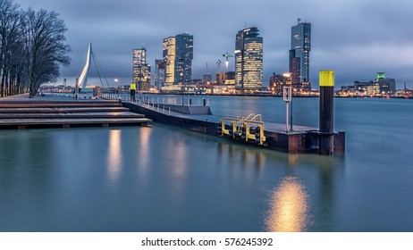 Skyline of Rotterdam on a cold winter morning
