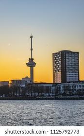 The Skyline of Rotterdam at sunset. Rotterdam, The Netherlands.