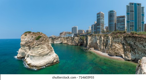 Skyline and Rouche rocks in Beirut, Lebanon cityscape at sea in day time in capital city Beirut Lebanon