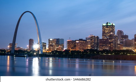 Skyline of Saint Louis with Gateway Arch by night  - ST. LOUIS, MISSOURI - JUNE 19, 2019