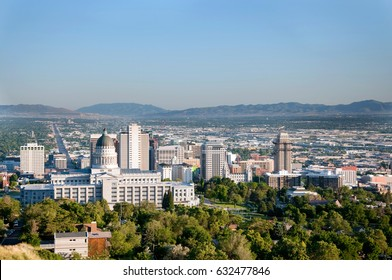 Skyline of Salt Lake City Utah with the Utah State Capitol Building and the historic Salt Lake Temple of the Church of Jesus Christ of Latter-day Saints (the Mormons)