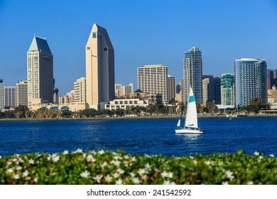 Skyline of San Diego, California from Coronado Bay, USA