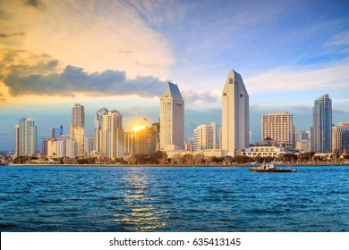 Skyline of san diego, California from Coronado bay, USA