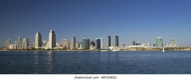 Skyline of San Diego downtown from Coronado Island (CAlifornia, USA)