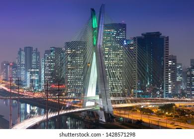 Skyline of Sao Paulo at night, Brazil