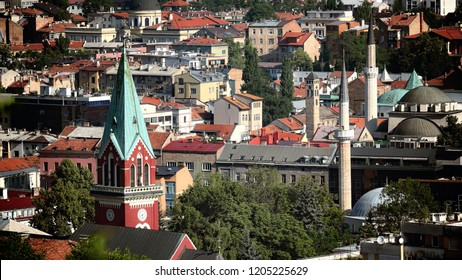 skyline Sarajevo Old Town with bell towers and minarets, Bosnia And Herzegovina
