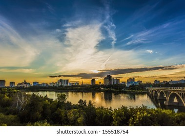 The skyline of Saskatoon, Canada at sunset.