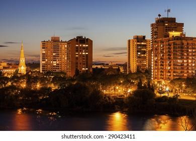 Skyline of Saskatoon. Saskatoon, Saskatchewan, Canada