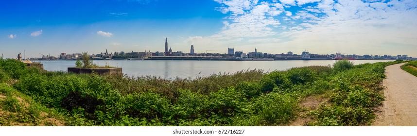 Skyline from the Scheldt  river in Antwerp, Brussels