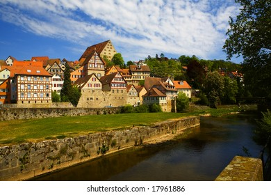 Skyline of Schwaebisch Hall, a remote town in southern Germany