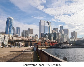 The Skyline from Seattle from the Harbor in the on a sunny day