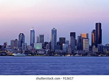 The skyline of Seattle, Washington as seen from Alki Beach in West Seattle.