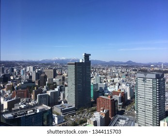Skyline of Sendai city  viewed from AER Tower observation deck which is located in Miyagi prefecture in the northern part of Japan main island of Honshu