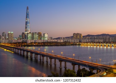 skyline of seoul by Han River in south korea