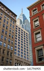 The skyline of several buildings in Philadelphia, Pennsylvania