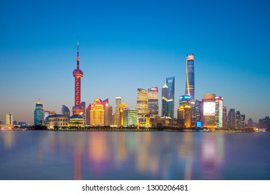 skyline of shanghai by the huangpu river