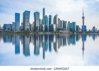Skyline of Shanghai lujiazui business district, Shanghai, China