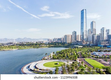 Skyline of Shenzhen Bay and Buildings. New Property Development and Urban Park.
