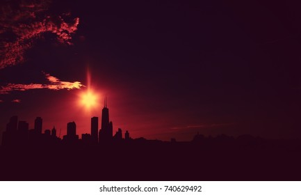 Skyline silhouette of chicago at dusk, USA.
