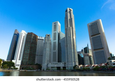 Skyline of Singapore city. Downtown skyscrapers office buildings of modern megalopolis