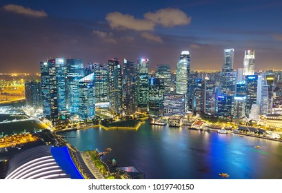 Skyline of Singapore Downtown at night. Aerial view