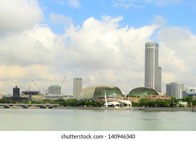 Skyline of Singapore with  Esplanade Theatres on the Bay