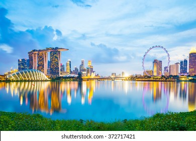 The skyline of Singapore Marina Bay in Singapore city.